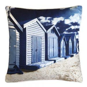 Daydream beach huts navy outdoor cushion