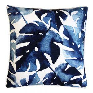 Daydream leaf navy outdoor cushion
