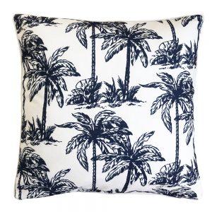 Daydream palm navy outdoor cushion